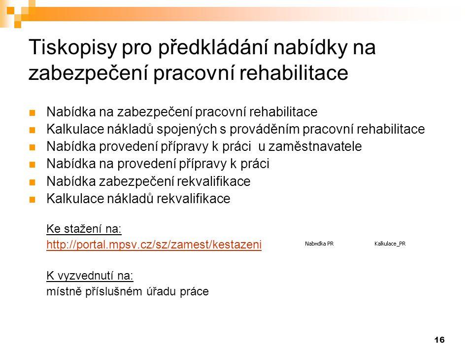 16 Tiskopisy pro předkládání nabídky na zabezpečení pracovní rehabilitace  Nabídka na zabezpečení pracovní rehabilitace  Kalkulace nákladů spojených