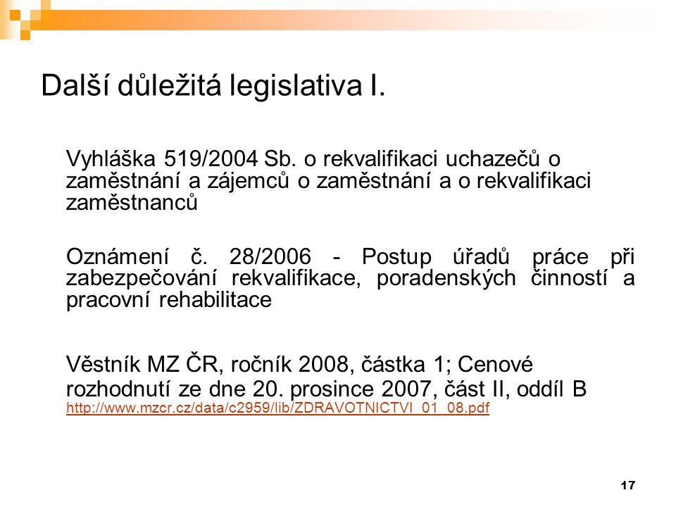 17 Další důležitá legislativa I. Vyhláška 519/2004 Sb. o rekvalifikaci uchazečů o zaměstnání a zájemců o zaměstnání a o rekvalifikaci zaměstnanců Ozná