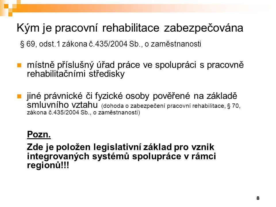 8 Kým je pracovní rehabilitace zabezpečována § 69, odst.1 zákona č.435/2004 Sb., o zaměstnanosti  místně příslušný úřad práce ve spolupráci s pracovn