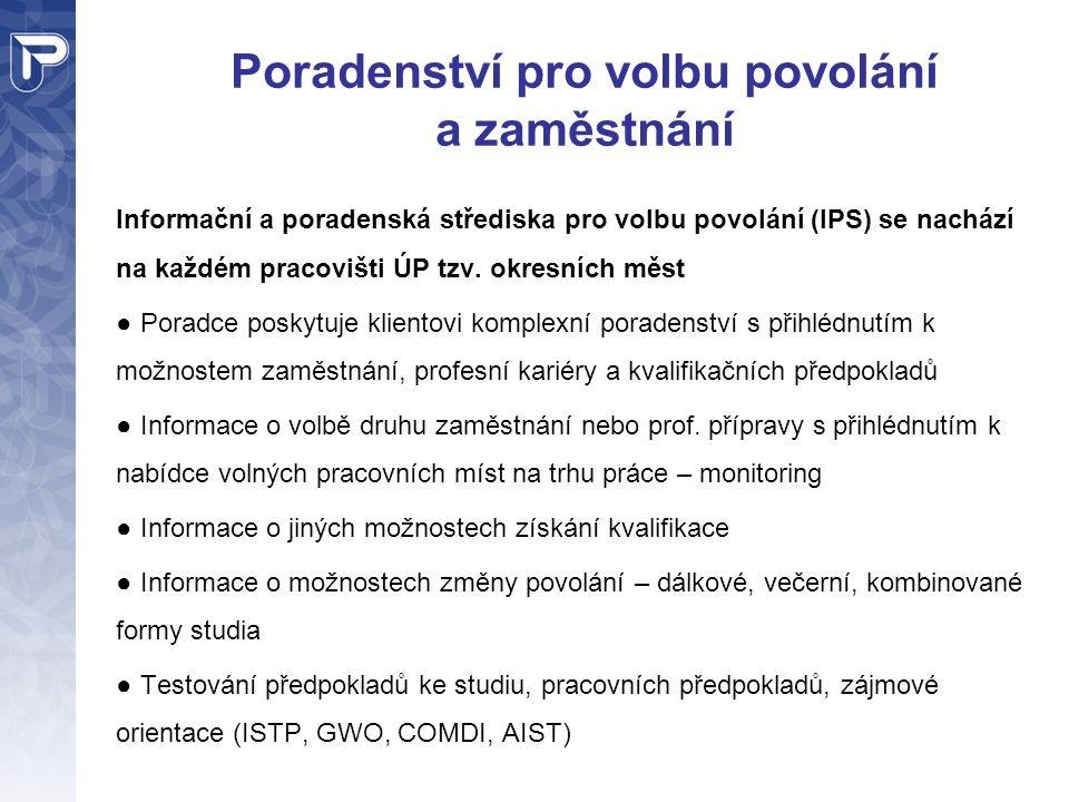 Poradenství pro volbu povolání a zaměstnání Informační a poradenská střediska pro volbu povolání (IPS) se nachází na každém pracovišti ÚP tzv. okresní