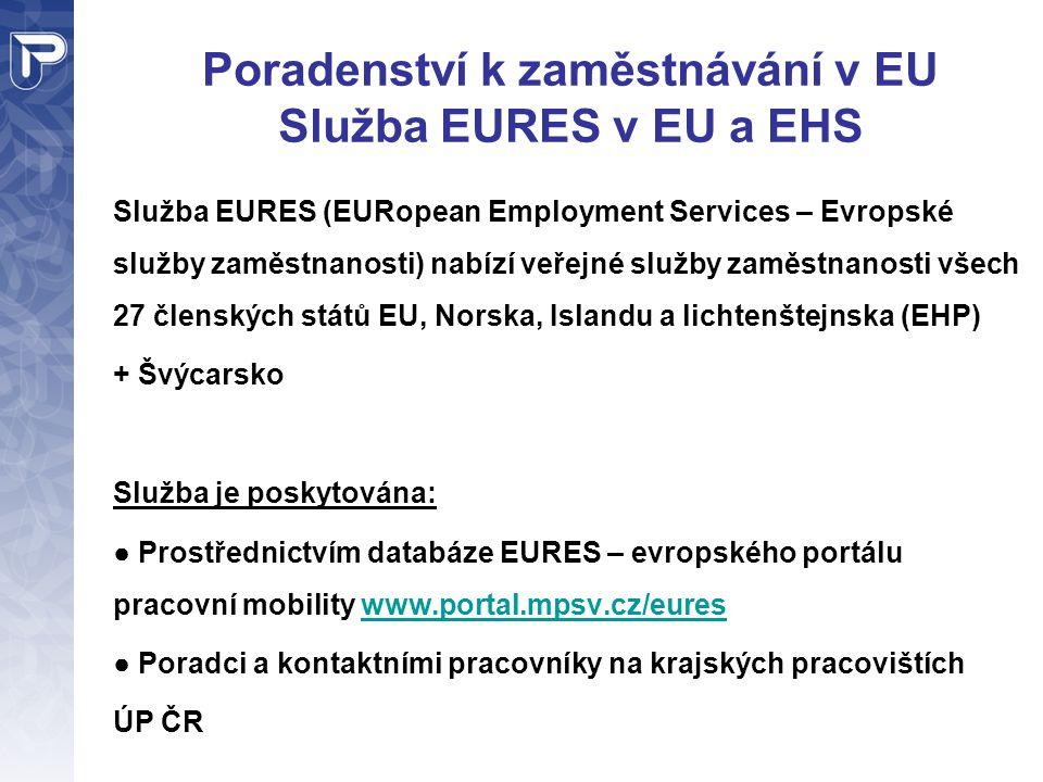 Poradenství k zaměstnávání v EU Služba EURES v EU a EHS Služba EURES (EURopean Employment Services – Evropské služby zaměstnanosti) nabízí veřejné slu