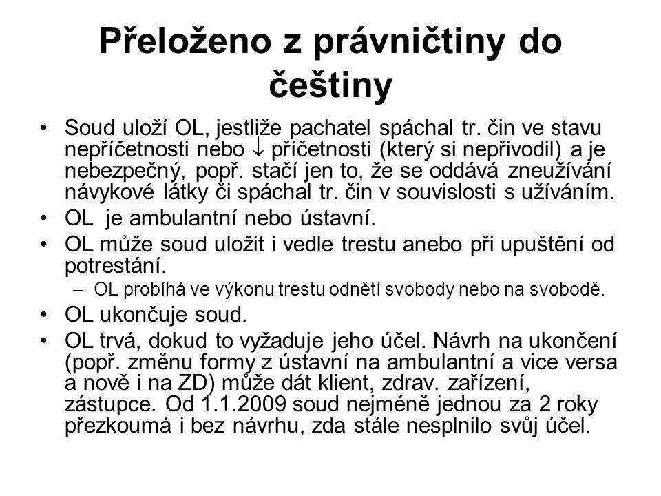 Přeloženo z právničtiny do češtiny •Soud uloží OL, jestliže pachatel spáchal tr. čin ve stavu nepříčetnosti nebo  příčetnosti (který si nepřivodil) a