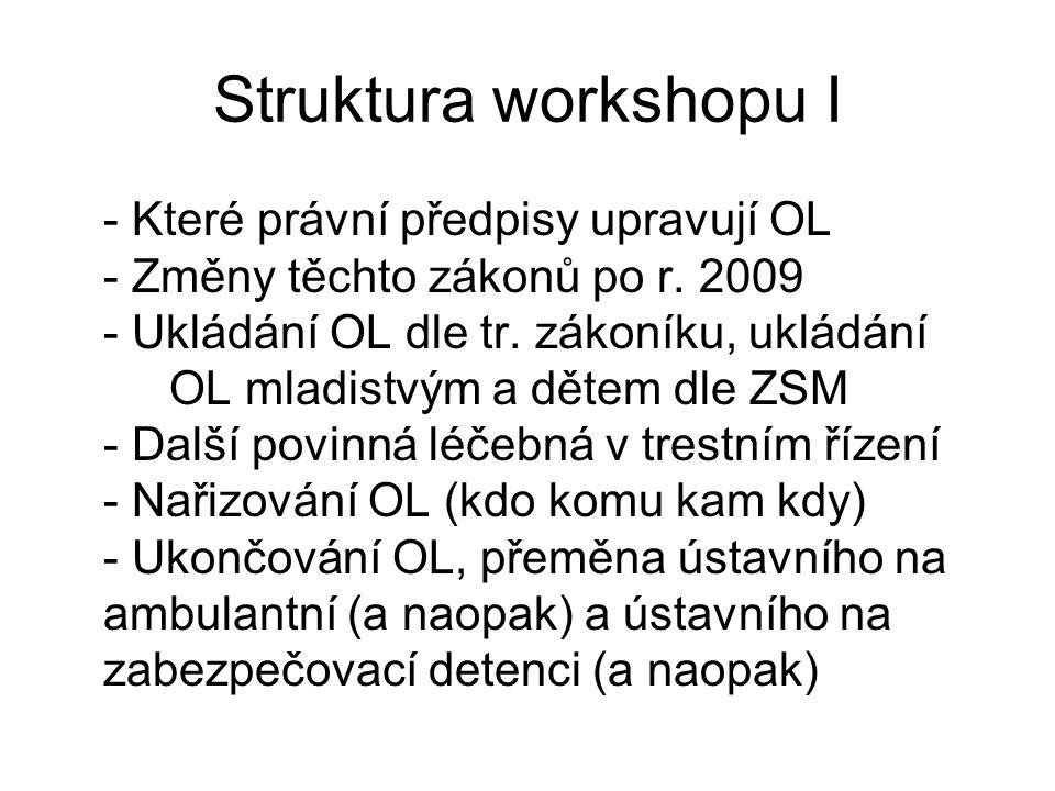 Struktura workshopu I - Které právní předpisy upravují OL - Změny těchto zákonů po r. 2009 - Ukládání OL dle tr. zákoníku, ukládání OL mladistvým a dě