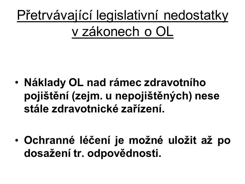 Přetrvávající legislativní nedostatky v zákonech o OL •Náklady OL nad rámec zdravotního pojištění (zejm. u nepojištěných) nese stále zdravotnické zaří