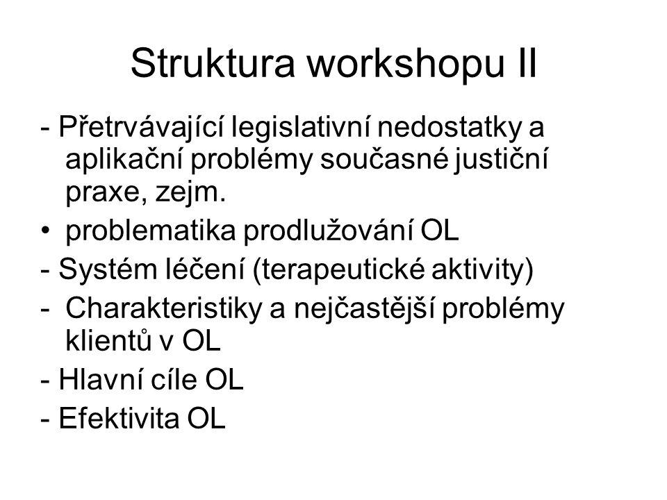 Struktura workshopu II - Přetrvávající legislativní nedostatky a aplikační problémy současné justiční praxe, zejm. •problematika prodlužování OL - Sys