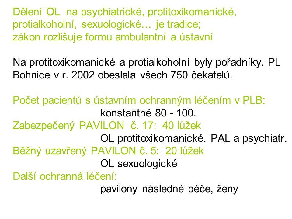 Dělení OL na psychiatrické, protitoxikomanické, protialkoholní, sexuologické… je tradice; zákon rozlišuje formu ambulantní a ústavní Na protitoxikoman