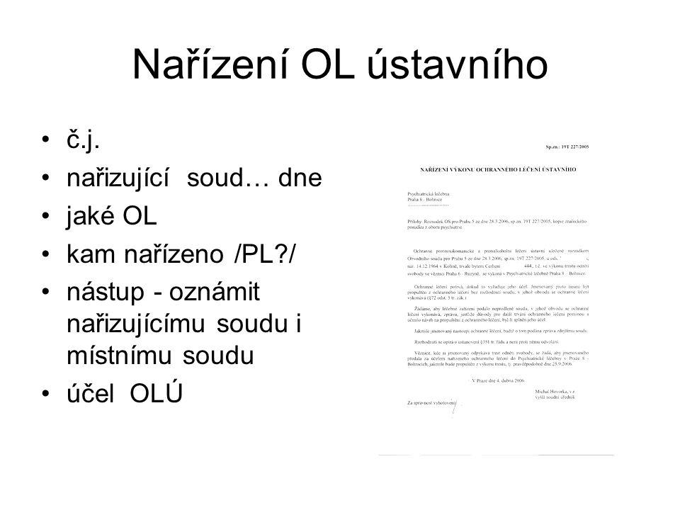 Nařízení OL ústavního •č.j. •nařizující soud… dne •jaké OL •kam nařízeno /PL?/ •nástup - oznámit nařizujícímu soudu i místnímu soudu •účel OLÚ