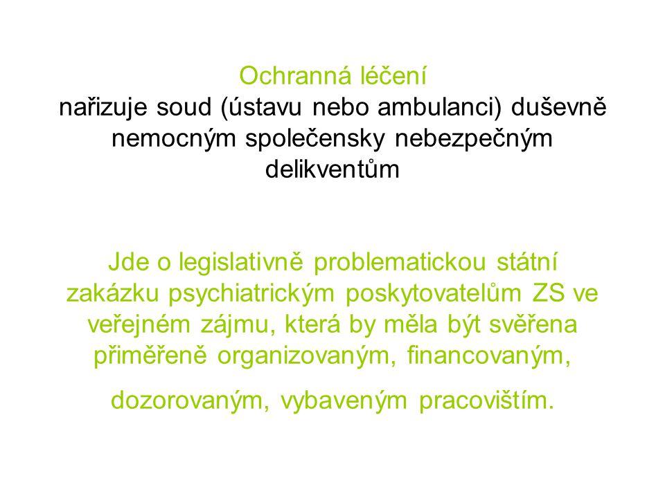 Ochranná léčení nařizuje soud (ústavu nebo ambulanci) duševně nemocným společensky nebezpečným delikventům Jde o legislativně problematickou státní za