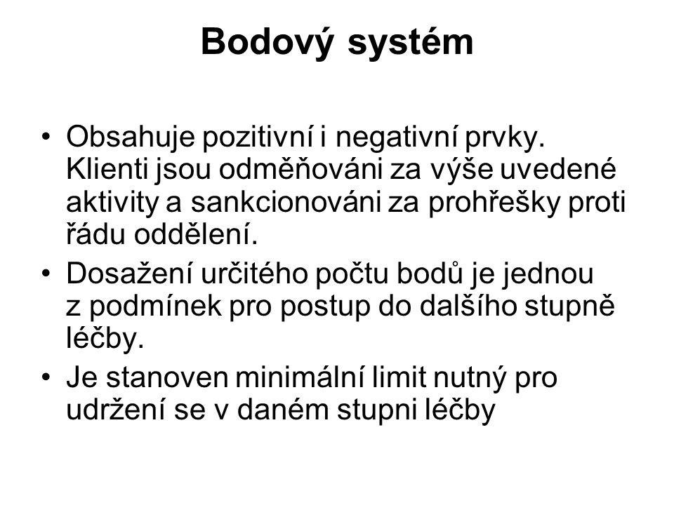 Bodový systém •Obsahuje pozitivní i negativní prvky. Klienti jsou odměňováni za výše uvedené aktivity a sankcionováni za prohřešky proti řádu oddělení