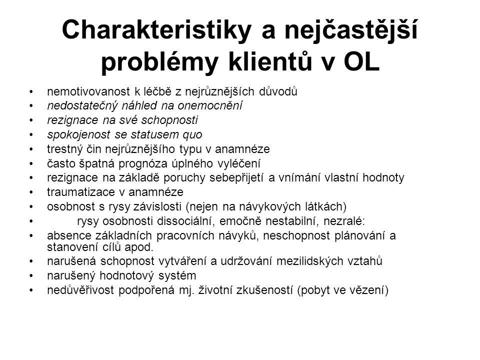 Charakteristiky a nejčastější problémy klientů v OL •nemotivovanost k léčbě z nejrůznějších důvodů •nedostatečný náhled na onemocnění •rezignace na sv
