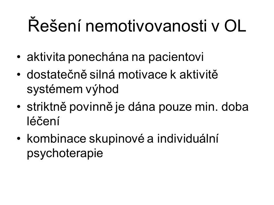 Řešení nemotivovanosti v OL •aktivita ponechána na pacientovi •dostatečně silná motivace k aktivitě systémem výhod •striktně povinně je dána pouze min