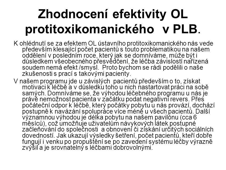 Zhodnocení efektivity OL protitoxikomanického v PLB. K ohlédnutí se za efektem OL ústavního protitoxikomanického nás vede především klesající počet pa