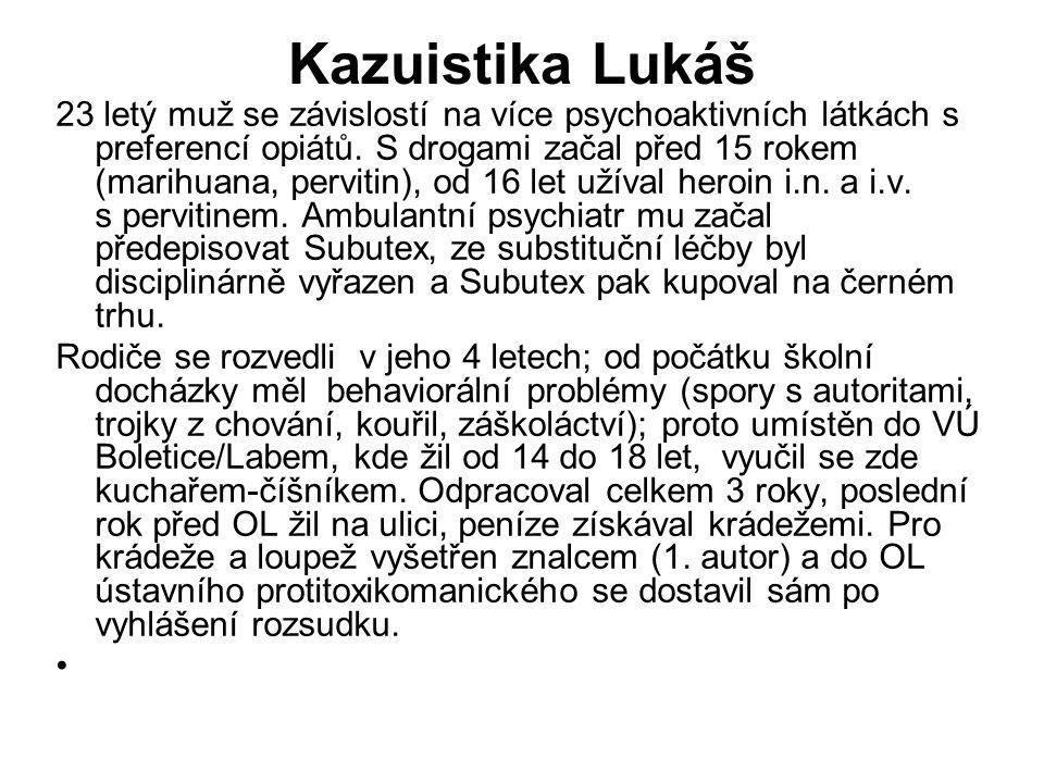 Kazuistika Lukáš 23 letý muž se závislostí na více psychoaktivních látkách s preferencí opiátů. S drogami začal před 15 rokem (marihuana, pervitin), o