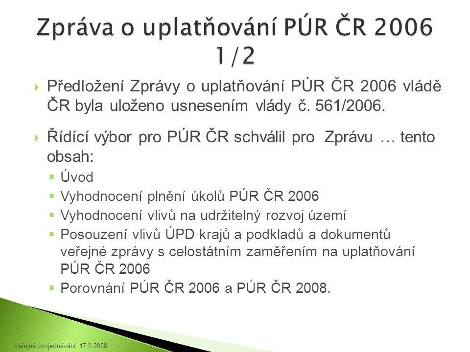  Předložení Zprávy o uplatňování PÚR ČR 2006 vládě ČR byla uloženo usnesením vlády č.