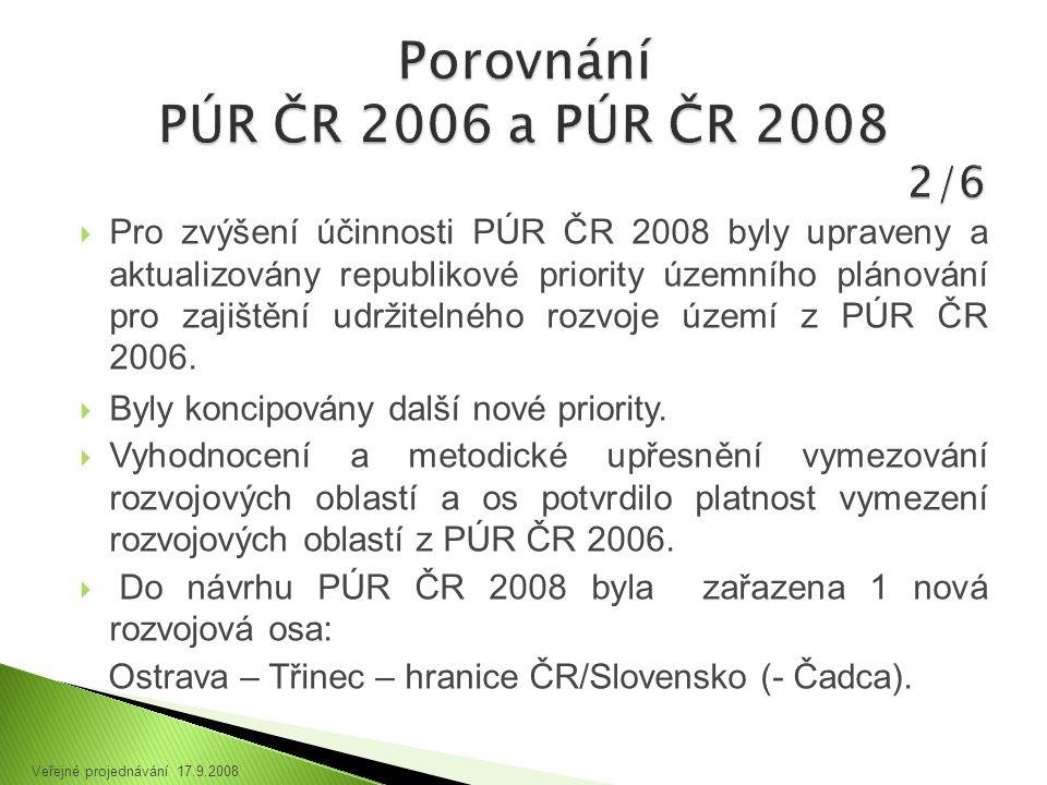 Pro zvýšení účinnosti PÚR ČR 2008 byly upraveny a aktualizovány republikové priority územního plánování pro zajištění udržitelného rozvoje území z PÚR ČR 2006.