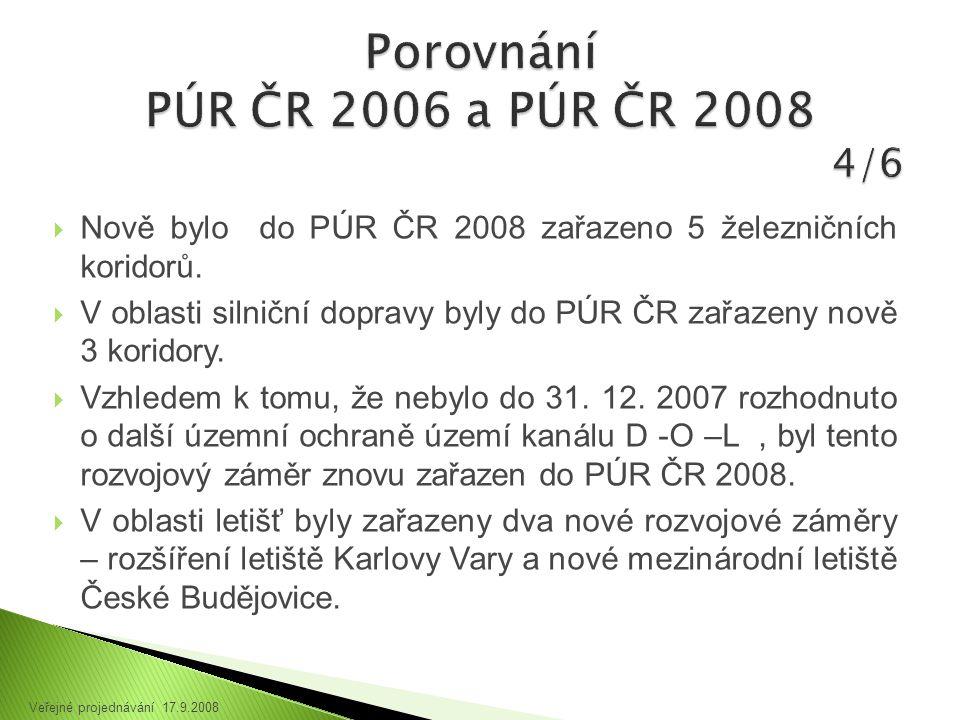  Nově bylo do PÚR ČR 2008 zařazeno 5 železničních koridorů.