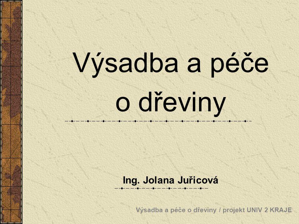 Výsadba a péče o dřeviny / projekt UNIV 2 KRAJE Výsadba a péče o dřeviny Ing. Jolana Juřicová
