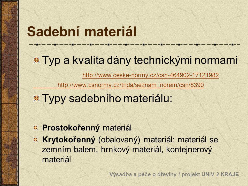 Sadební materiál Typ a kvalita dány technickými normami http://www.ceske-normy.cz/csn-464902-17121982 http://www.ceske-normy.cz/csn-464902-17121982 ht