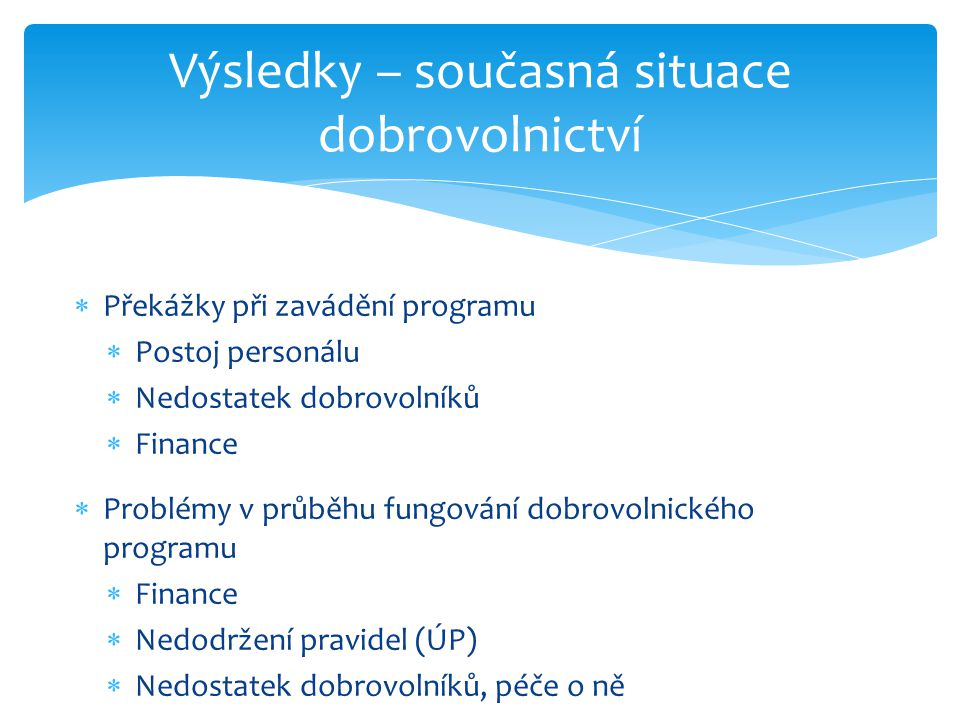  Překážky při zavádění programu  Postoj personálu  Nedostatek dobrovolníků  Finance  Problémy v průběhu fungování dobrovolnického programu  Fina