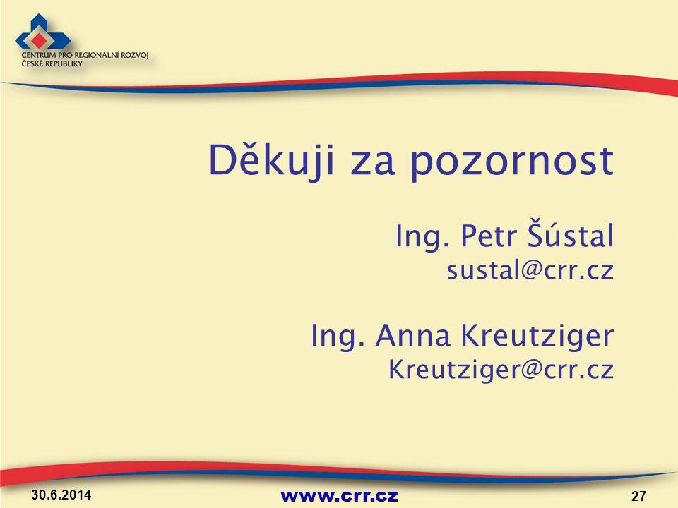 www.crr.cz 30.6.2014 27 Děkuji za pozornost Ing. Petr Šústal sustal@crr.cz Ing. Anna Kreutziger Kreutziger@crr.cz