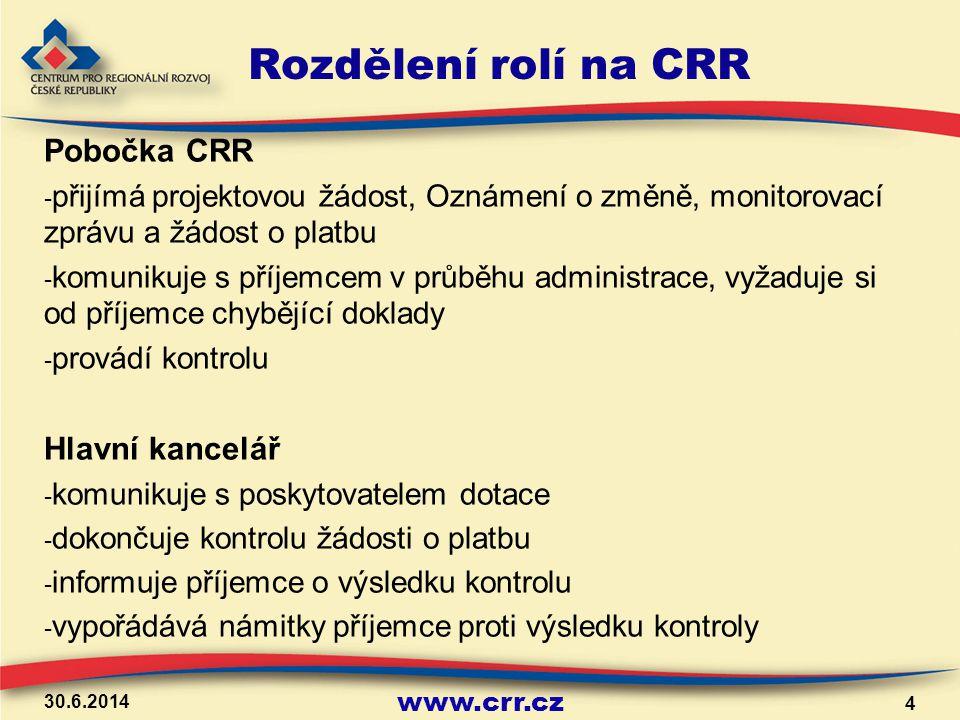 www.crr.cz Průběh kontroly na CRR příjemce předkládá na pobočku CRR do 20 pracovních dnů od ukončení etapy monitorovací zprávu, žádost o platbu a požadované přílohy První fáze kontroly na pobočce je v první fázi zkontrolováno doložení všech povinných dokladů pokud některá z příloh chybí, je příjemce vyzván k doložení do stanoveného termínu (max.