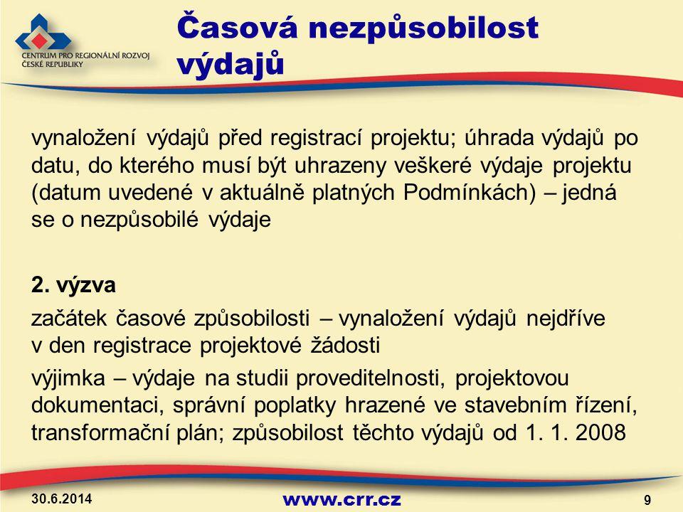 www.crr.cz Časová nezpůsobilost výdajů 7.