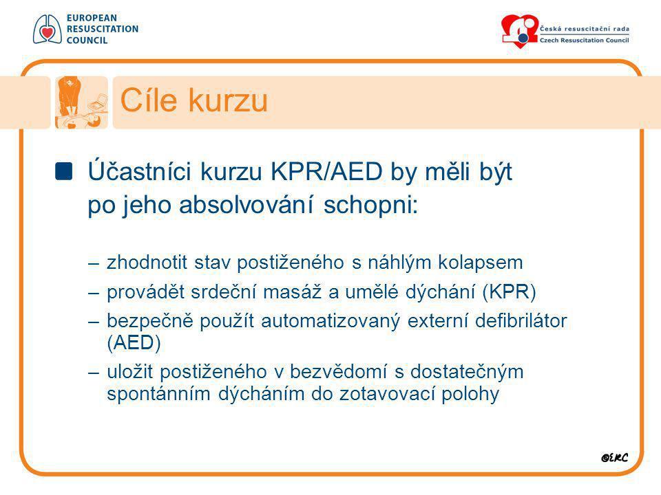 Účastníci kurzu KPR/AED by měli být po jeho absolvování schopni: –zhodnotit stav postiženého s náhlým kolapsem –provádět srdeční masáž a umělé dýchání