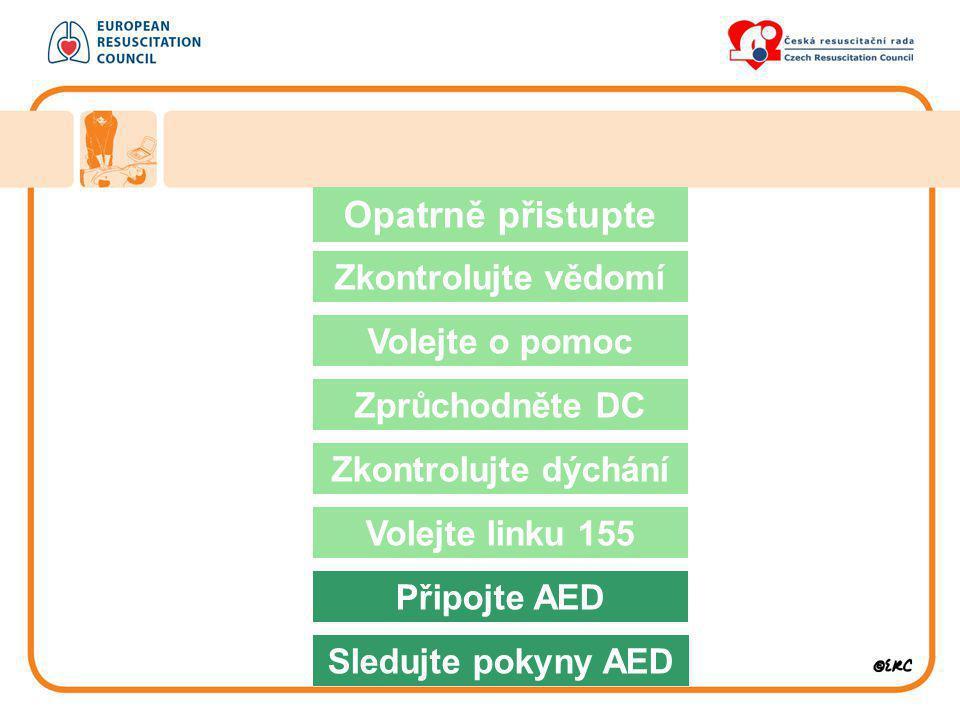 Opatrně přistupte Zkontrolujte vědomí Volejte o pomoc Zprůchodněte DC Zkontrolujte dýchání Volejte linku 155 Připojte AED Sledujte pokyny AED