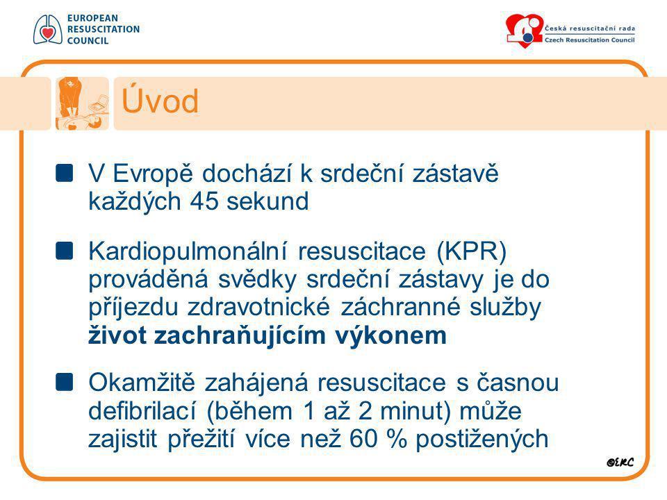 V Evropě dochází k srdeční zástavě každých 45 sekund Kardiopulmonální resuscitace (KPR) prováděná svědky srdeční zástavy je do příjezdu zdravotnické z