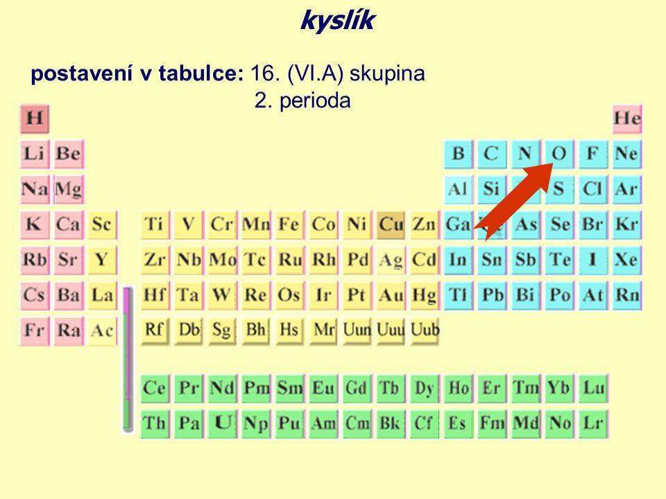 úplná elektronová konfigurace (doplň elektrony): O 8 E kyslík