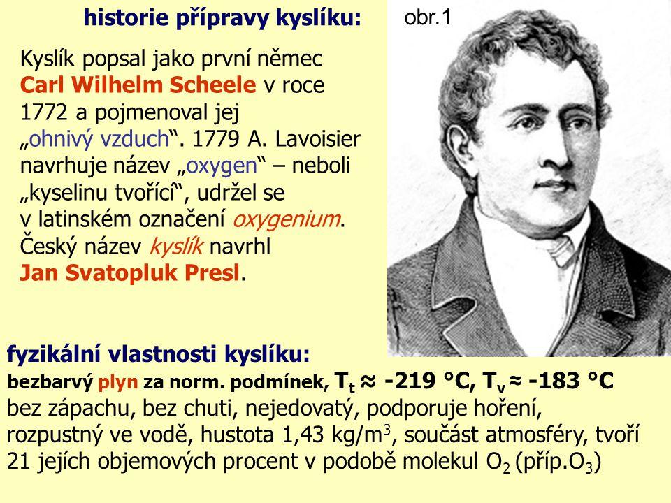 """Kyslík popsal jako první němec Carl Wilhelm Scheele v roce 1772 a pojmenoval jej """"ohnivý vzduch ."""