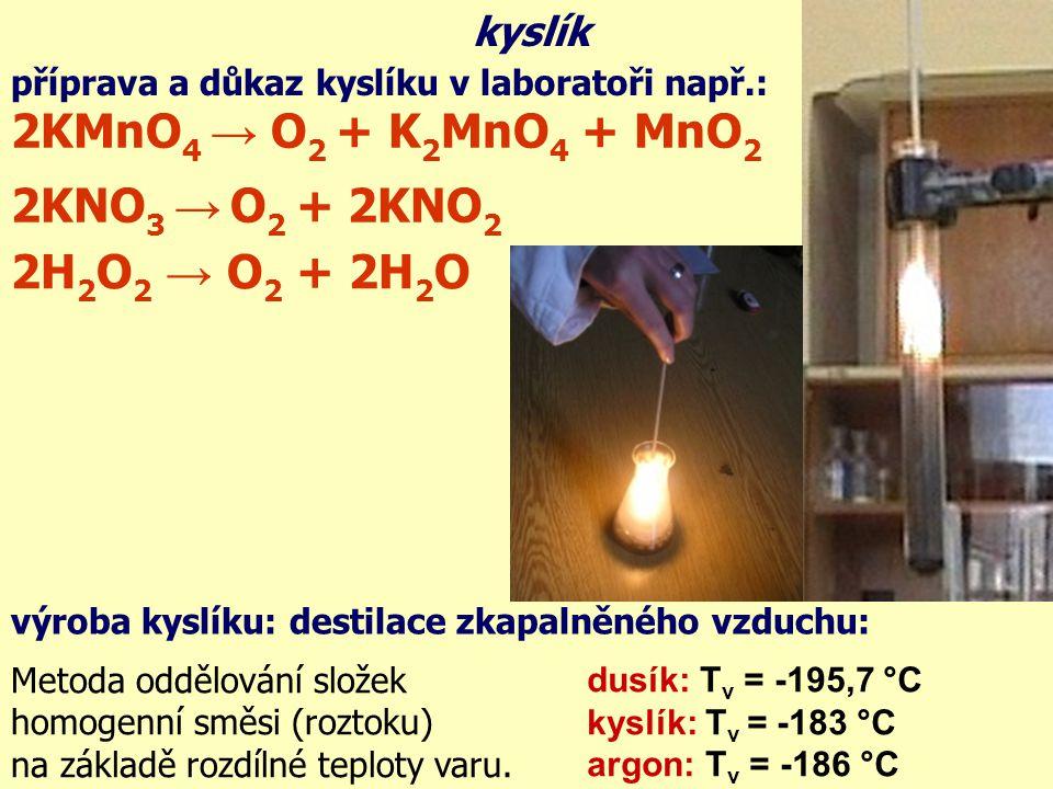 příprava a důkaz kyslíku v laboratoři např.: kyslík výroba kyslíku: destilace zkapalněného vzduchu: Metoda oddělování složek homogenní směsi (roztoku) na základě rozdílné teploty varu.