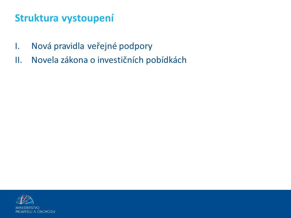 I.Nová pravidla veřejné podpory II.Novela zákona o investičních pobídkách Struktura vystoupení