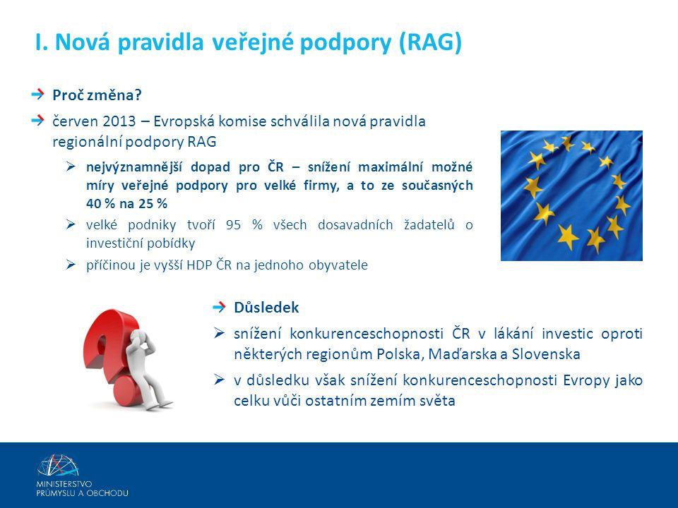 Proč změna? červen 2013 – Evropská komise schválila nová pravidla regionální podpory RAG  nejvýznamnější dopad pro ČR – snížení maximální možné míry