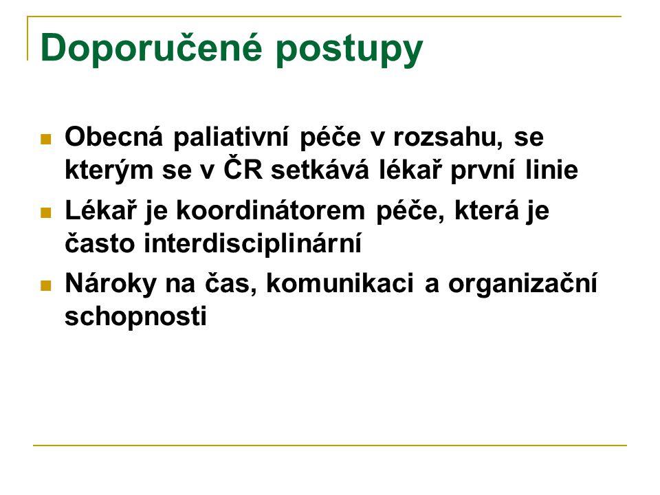 Doporučené postupy  Obecná paliativní péče v rozsahu, se kterým se v ČR setkává lékař první linie  Lékař je koordinátorem péče, která je často inter