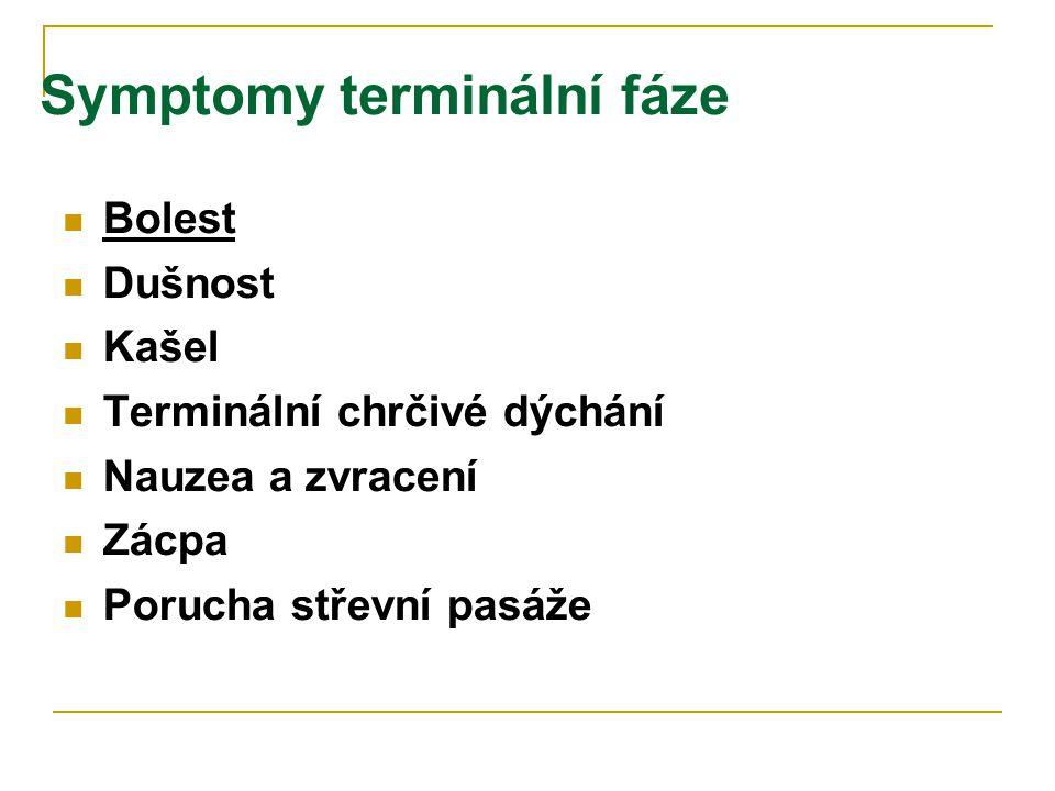 Symptomy terminální fáze  Bolest  Dušnost  Kašel  Terminální chrčivé dýchání  Nauzea a zvracení  Zácpa  Porucha střevní pasáže