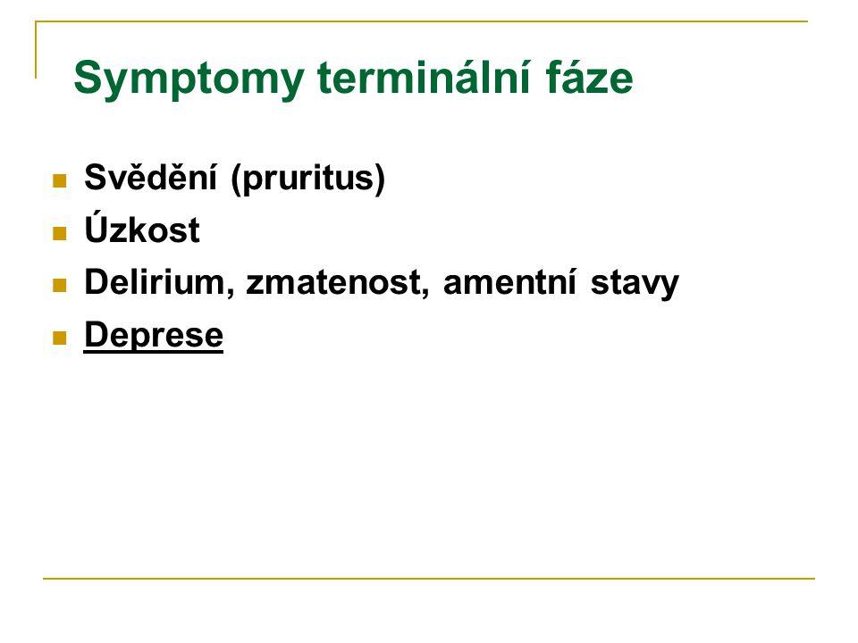 Symptomy terminální fáze  Svědění (pruritus)  Úzkost  Delirium, zmatenost, amentní stavy  Deprese