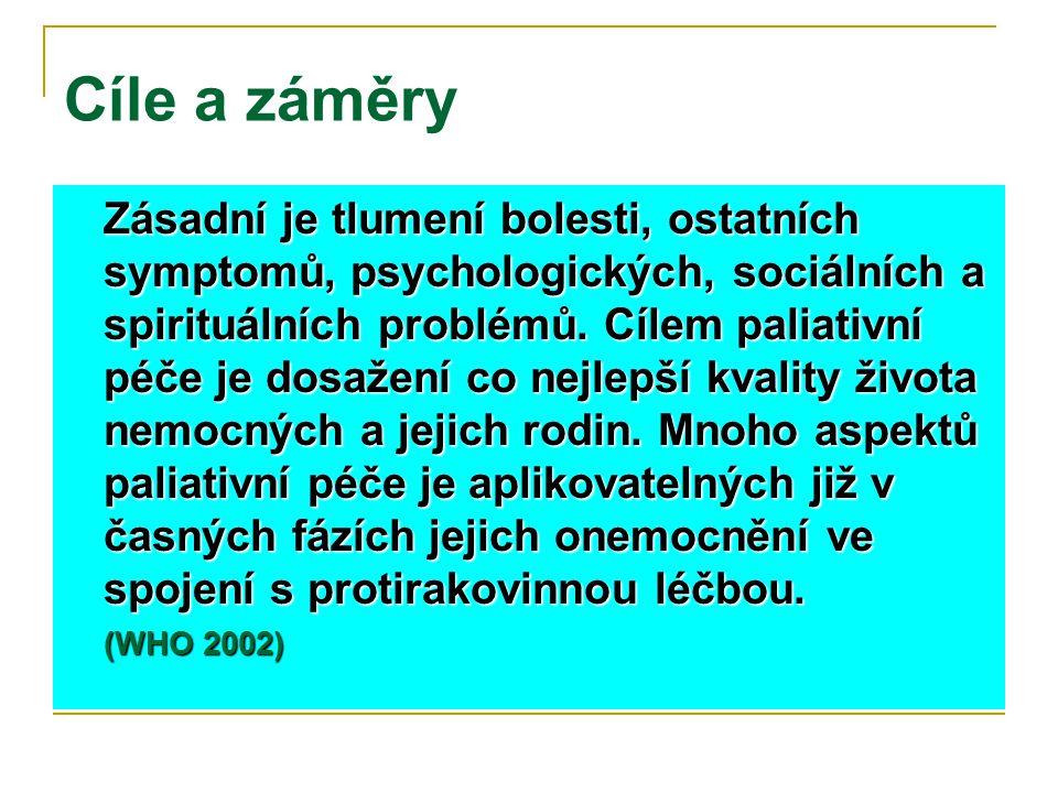 Cíle a záměry Zásadní je tlumení bolesti, ostatních symptomů, psychologických, sociálních a spirituálních problémů. Cílem paliativní péče je dosažení