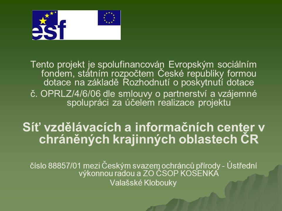 Tento projekt je spolufinancován Evropským sociálním fondem, státním rozpočtem České republiky formou dotace na základě Rozhodnutí o poskytnutí dotace