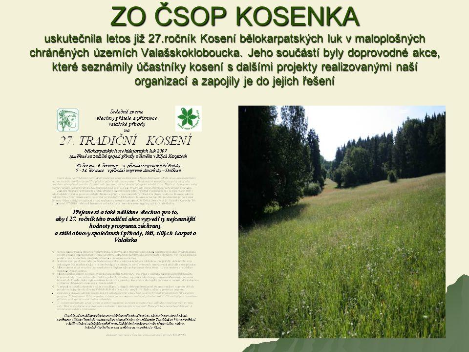 ZO ČSOP KOSENKA uskutečnila letos již 27.ročník Kosení bělokarpatských luk v maloplošných chráněných územích Valašskokloboucka. Jeho součástí byly dop