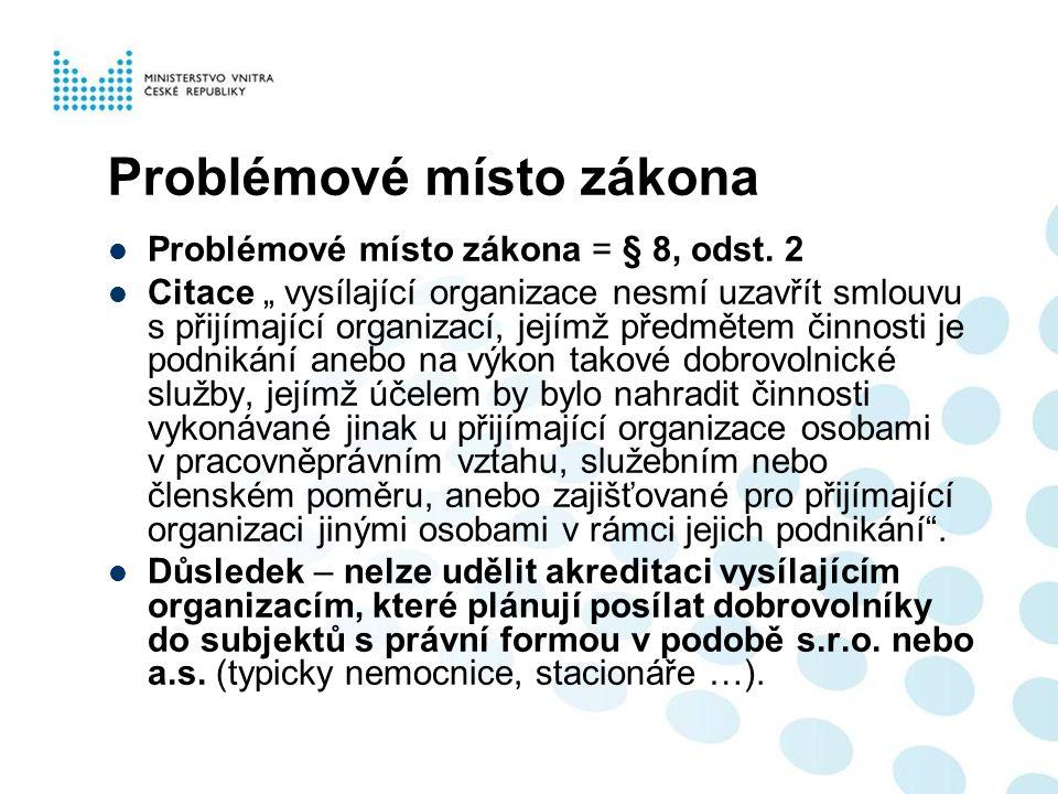"""Problémové místo zákona  Problémové místo zákona = § 8, odst. 2  Citace """" vysílající organizace nesmí uzavřít smlouvu s přijímající organizací, její"""