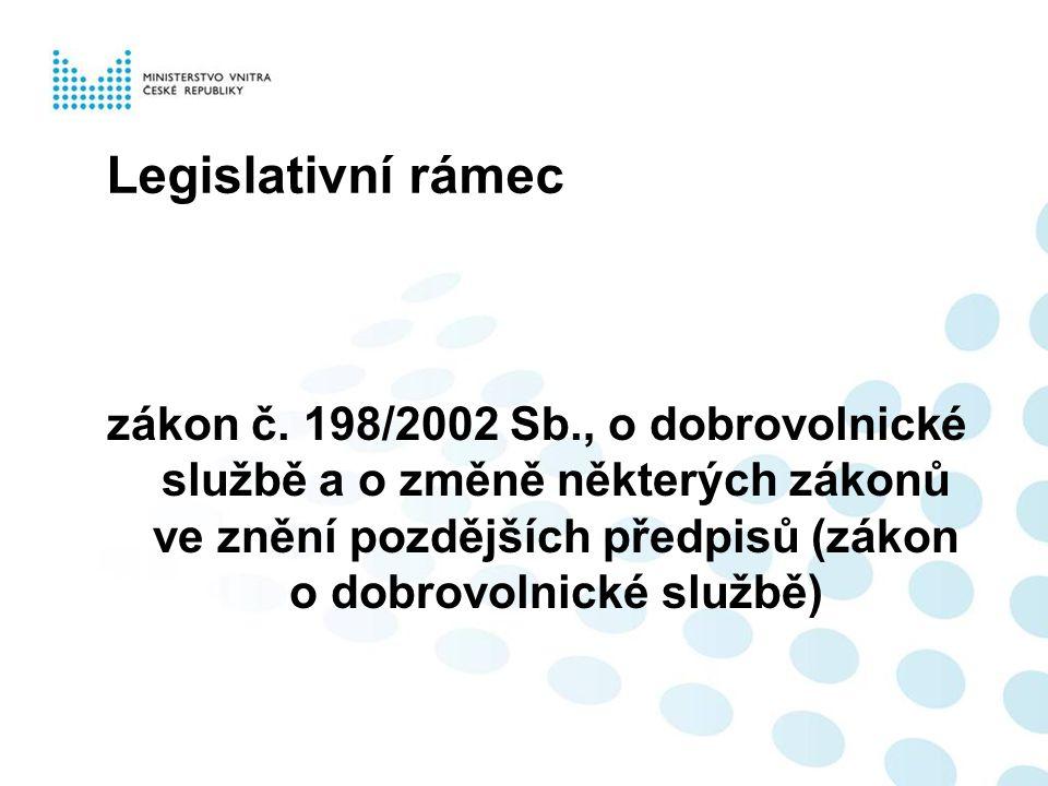Legislativní rámec zákon č. 198/2002 Sb., o dobrovolnické službě a o změně některých zákonů ve znění pozdějších předpisů (zákon o dobrovolnické službě