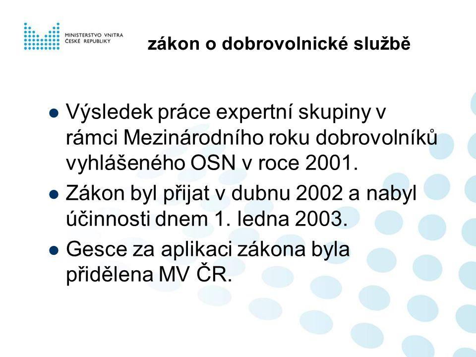 zákon o dobrovolnické službě  Výsledek práce expertní skupiny v rámci Mezinárodního roku dobrovolníků vyhlášeného OSN v roce 2001.  Zákon byl přijat
