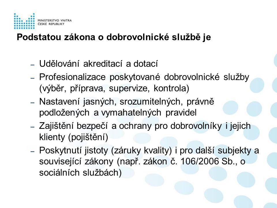 Hlavní znaky zákona  TRANSPARENTNOST = akreditace – komise – veřejný seznam na www.mvcr.cz (služby pro veřejnost / dobrovolnická služba)  SMLUVNÍ VZTAH = dobrovolník + vysílající + přijímající organizace  KVALITA = výběr, příprava, výcvik, supervize, vedení, vybavení dobrovolníka.