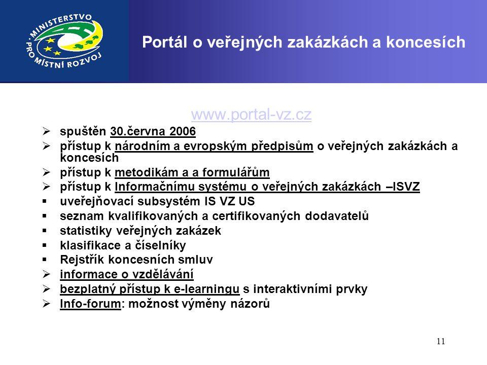 11 Portál o veřejných zakázkách a koncesích www.portal-vz.cz  spuštěn 30.června 2006  přístup k národním a evropským předpisům o veřejných zakázkách