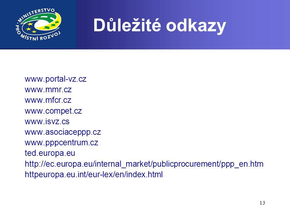 13 Důležité odkazy www.portal-vz.cz www.mmr.cz www.mfcr.cz www.compet.cz www.isvz.cs www.asociaceppp.cz www.pppcentrum.cz ted.europa.eu http://ec.euro