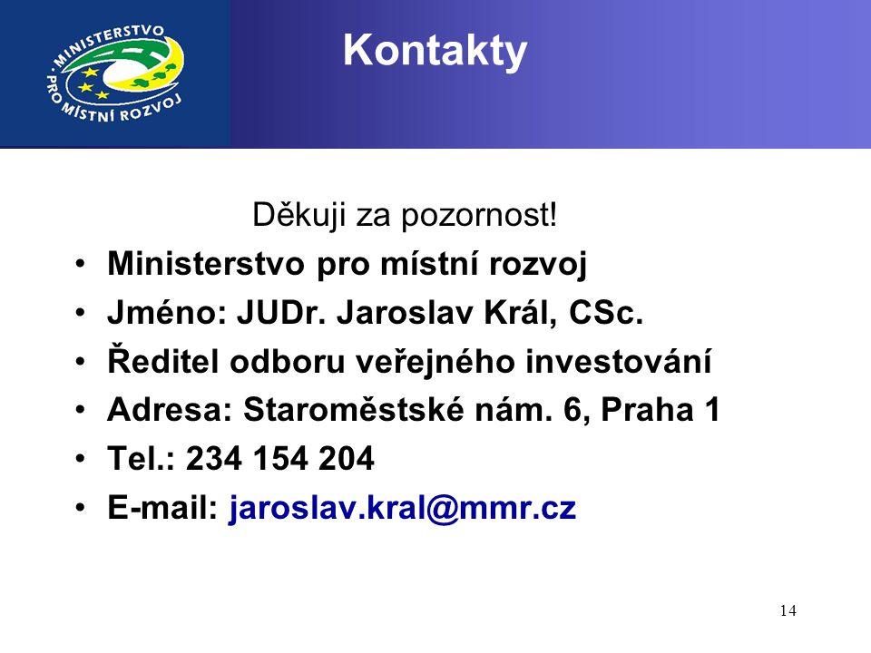 14 Kontakty Děkuji za pozornost! •Ministerstvo pro místní rozvoj •Jméno: JUDr. Jaroslav Král, CSc. •Ředitel odboru veřejného investování •Adresa: Star