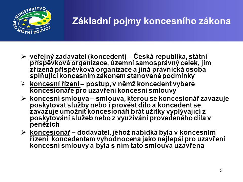 5 Základní pojmy koncesního zákona  veřejný zadavatel (koncedent) – Česká republika, státní příspěvková organizace, územní samosprávný celek, jím zří