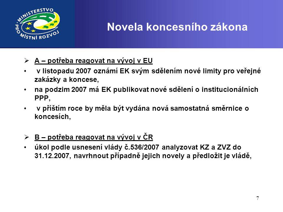 7  Novela koncesního zákona  A – potřeba reagovat na vývoj v EU • v listopadu 2007 oznámí EK svým sdělením nové limity pro veřejné zakázky a koncese