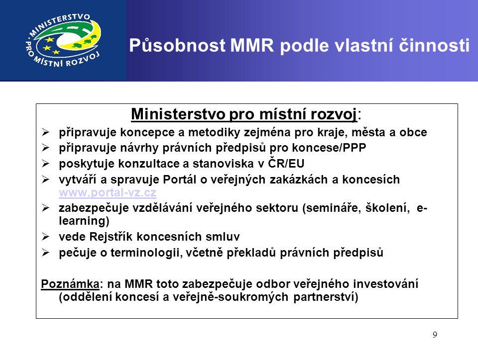 9 Působnost MMR podle vlastní činnosti Ministerstvo pro místní rozvoj:  připravuje koncepce a metodiky zejména pro kraje, města a obce  připravuje n